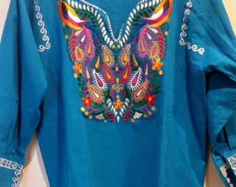 Embroidery mexican Blouse L, Blue Mexican blouse L, mexican embroidered  top, Frida Maria