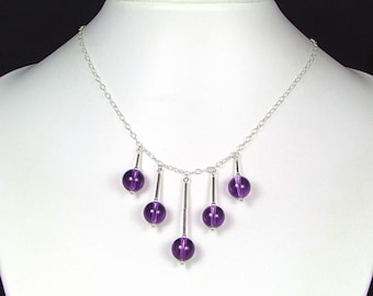AAA Grade Amethyst & Sterling Silver Necklace - N525C