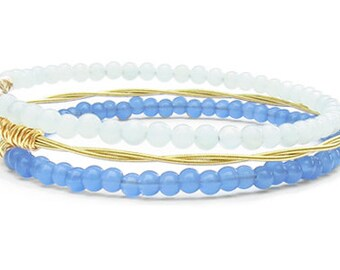 Bangle Bracelet Stack // Set of 3 Bangle Bracelets // Periwinkle Purple, Mint & Gold Bangle Bracelets // Eco-Friendly Recycled Jewelry Gift