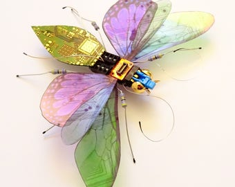 The Triple Winged Midnight Stunner, Fantasy Circuit Board Insect by Julie Alice Chappell