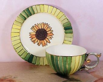 Floral Tea Cups And Saucer Set, Porcelain floral set, Sunflower tea set, Hand Painted Dishes