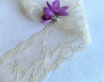 Vintage Lace Ivory Net Lace Trim Wedding Bridal Lace Craft Supply New Old Stock Price 5 Yards
