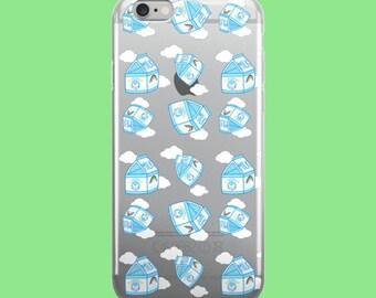 Milk Carton Tumble ft Creamu The Cow Clear Plastic Phone Case for iPhones - Citrus Lemonade