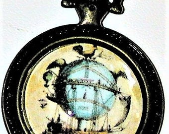 Steampunk Airship Pendant in a Pocket Watch Frame