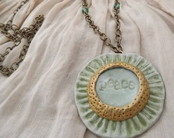Green Peace Clay and Glass Flower Pendant
