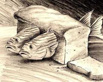 These fish are in bread... Funny Fine art pencil drawing Art for the fisherman Lake and Beach decor