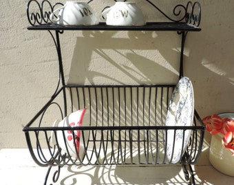 Vintage Dish Rack/French Vintage Dish Rack/French Vintage Dish Drying Rack/Metal Dish Drying Rack