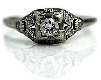 Antique Engagement Ring 1920s .32ctw Art Deco Ring Antique Platinum Ring Vintage Diamond Wedding Ring Filigree Ring Size 5.5!