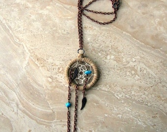Dream Catcher Necklace - Turquoise Angel Wing Dreamcatcher Necklace - Unchained Dreams No. 2