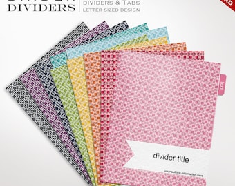 Sammelmappe Teiler - druckbare Binder Teiler bearbeitbaren Rainbow Mod Square - Mod Binder Divider Vorlagen benutzerdefinierte Binder Tabs druckbare Divider