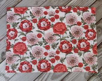 French country placemats, fabric placemats, quilted placemats, handmade placemats, table decor, set of 8, red floral