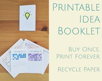 Printable Idea Notebook - Idea Booklet - Instant Download