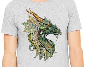 Dragon shirt, Colorful image of dragon head printed on a heather gray t-shirt, Men's t-shirt
