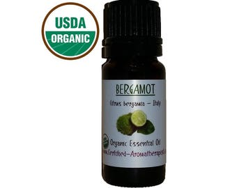 Certified Organic Bergamot Essential Oil *Buy 3 Get 4th 1 FREE* pure GCMS Included 5ml 10ml 15ml 3 Drop Sample