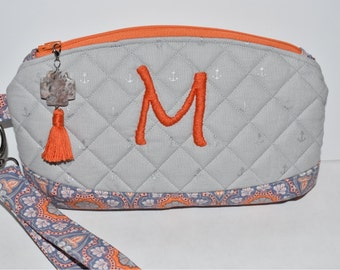 Quilted Clematis Wristlet. Hand Embroidered. Stone Jewelry Tassel. Zipper Pull. Card Slots. Gift For Her. Personalized Gift. Orange & Gray