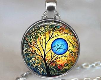 Blue Sun pendant, tree necklace, tree jewelry, sun jewelry, abstract art pendant, tree art pendant tree keychain key chain key ring key fob