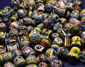 Hand Painted Peruvian Beads Lot Of 100