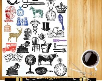 The Antique Digital collage sheet,Vintage Objects,Vintage Animal illustration designs,image transfer,scrapbook collage digital download