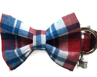 Patriotic Plaid Bow Tie Dog Collar size Large