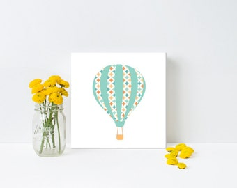 Nursery/Children's art, Hot Air Balloon, Aqua, Orange, Gender Neutral, print, canvas, framed #215