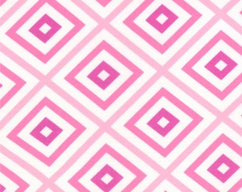 HUBBA HUBBA - Squares in Pink - Bold Fun Flirty Cotton Quilt Fabric - My Sister & Me Designs for Moda Fabrics - 22215-11 (W3961)