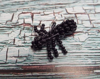 Figurine black Ant, seed beads
