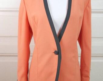 German Vintage Blazer, Peach Black One-Button Jacket, European Vintage 1980s Elegant Blazer: Size 10 US, Size 14 UK