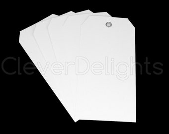"""100 White Plastic Tags 4.75"""" x 2.375"""" - Tear-proof and Waterproof -  Inventory Asset ID Price Tags"""