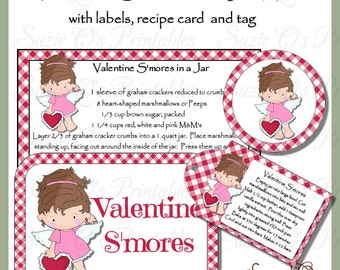 Make your own Valentine S'mores Mix in a Jar - Labels, Tag and Recipe card - Digital Printable Kit - Great Gift Idea - Immediate Download