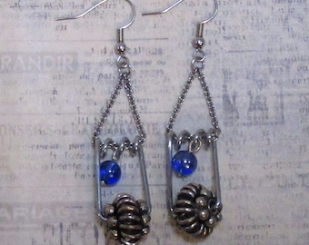 blue bubble pin up earrings