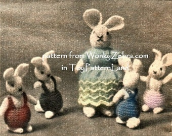 Vintage Knitted Mini Bunny Rabbit Toy Pattern PDF 555 from WonkyZebra