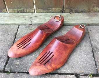 Pair of vintage wood shoe inserts / shoe form mold