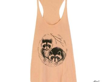 Raccoon Womens Screen Printed Tank Peach Racerback