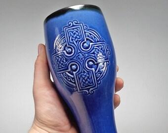 Celtic Cross Pilsner Beer Mug Teal Blue Glaze 24oz Dinnerware Tumbler Renaissance Fest & Celtic dinnerware | Etsy