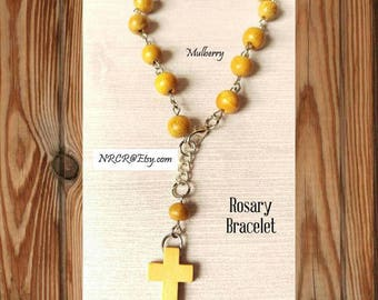 Wood Rosary Style bracelet/ Anklet Silver individually hand linked and beaded 6MM CUSTOMIZED 4U!MULBERRY