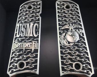 0.925 Sterling Silver Colt 1911 USMC Gun Grips - USMC Semper Fi 1911 Pistol Grips - Luxury 1911 Grips - Marine Corps Globe and Anchor Grips