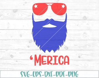Merica beard svg, eps, dxf, png, cricut, scan N cut, cut file, 4th of july svg, fourth of july svg, independence day svg, manly svg, USA svg