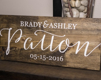Family Name Sign, Last Name Sign, Personalized Wedding Date Sign, Established Date Sign, Wedding Gift, Anniversary Gift, Bridal Shower Gift