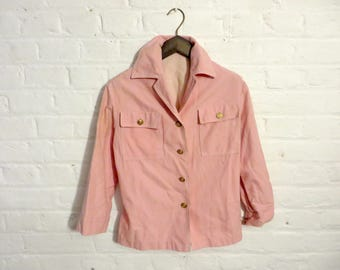 1980s vintage light pink denim jacket with gold buttons - Small Size - UK 8 EU 36 US 6