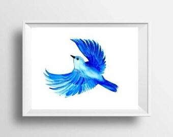Flying blue bird watercolor painting print bird wall art decor bird poster bird decoration bird print nursery decor blue teal bird decor