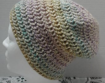 pastel slouchy beanie, adult size, ready to ship, hipster beanie, rainbow hat, crochet hat, crochet beanie