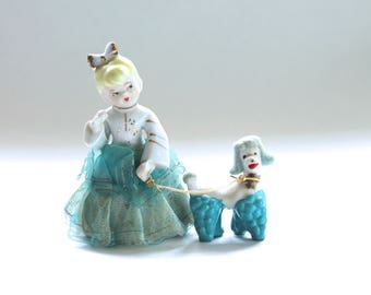 Vintage 1950's Teal and White Girl and Poodle Ceramic Figurine Set!