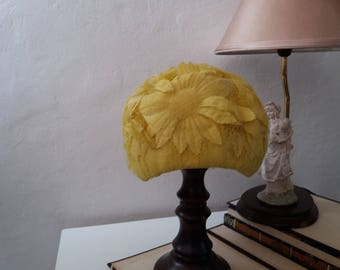 Vintage 1940s/1950s Floral Hat/ Yellow Chiffon Floral Hat