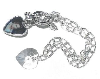 SALE, Bella Bracelet, Twilight, Edward Portrait, Swarovski Crystal Heart, New Moon Bracelet,Bella Gift,Crystal Heart Charm Bracelet,Vampire