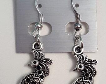 Tibetan Silver Peacock Earrings