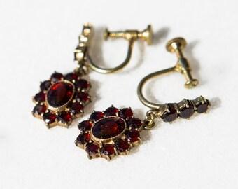 Antique Bohemian Dangle & Drop Screw Back Garnet Earrings Victorian Style Heirloom