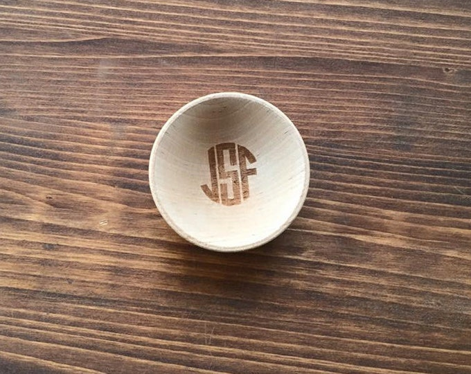 Personalized Ring Bowl Dish Circle Letter Monogram Engraved