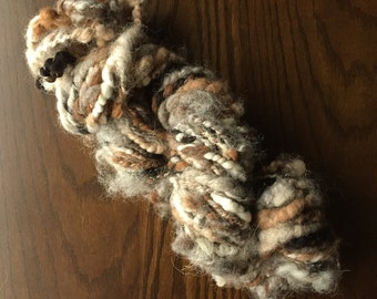 Handspun Art Yarn, Textured Curly Yarn, Luxury Weaving Yarn, Natural Wool - Neutral colors