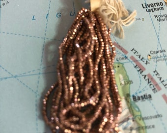 Fabulous French Steel cut bead hank rose gold antique vintage metal seed beads