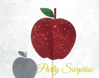 NYC Apple Cake Topper Big Apple NYC Party Fairytale Teacher Appreciation NYC cupcake toppers The Big Apple Red Glitter Cake Topper Red Apple